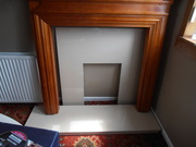 MAHOGANY FIREPLACE AND MARBLE SURROUND
